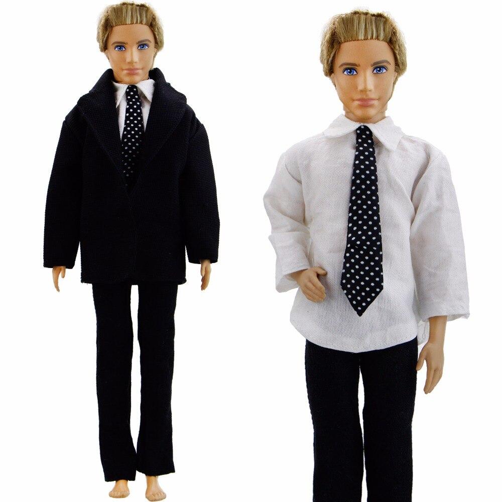 Formal de moda traje de esmoquin negro traje de fiesta de boda Príncipe  punto corbata vestido ropa para Barbie Ken accesorios de la muñeca -  Comprar Thing 61553baef4a4