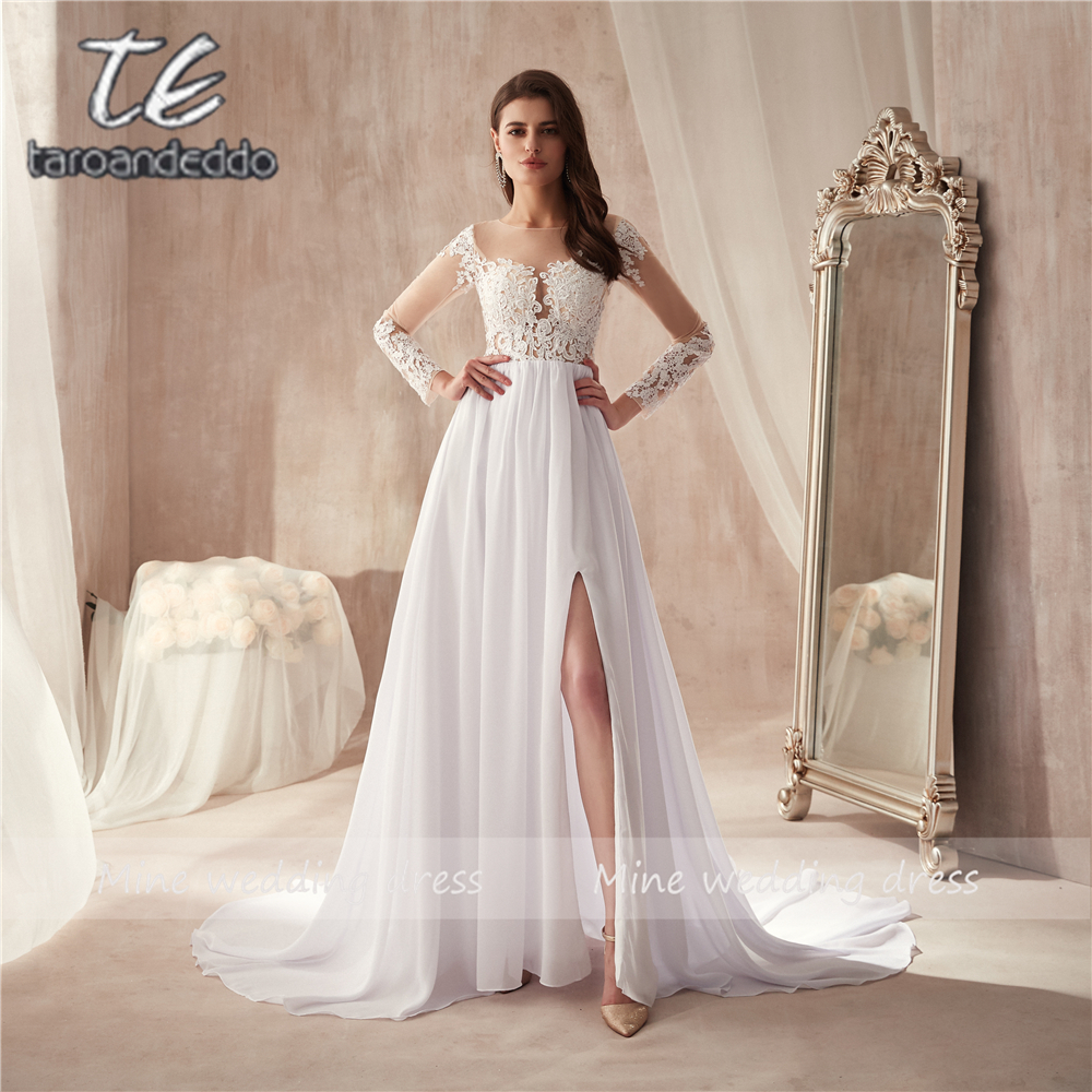 Scoop Neckline White Chiffon Beach Front Slit Wedding Dress Long Sleeves See Through A line Bridal