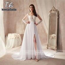 Derin yuvarlak yaka Beyaz Şifon Plaj Ön Yarık Düğün elbise uzun kollu See Through A line Gelin Elbise Düğmesi Geri ile