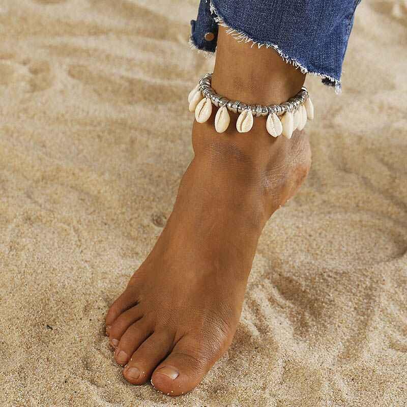 2019 シェルジュエリー女性夏のビーチ裸足上の足首脚女性手作りブレスレットボヘミアンアクセサリー