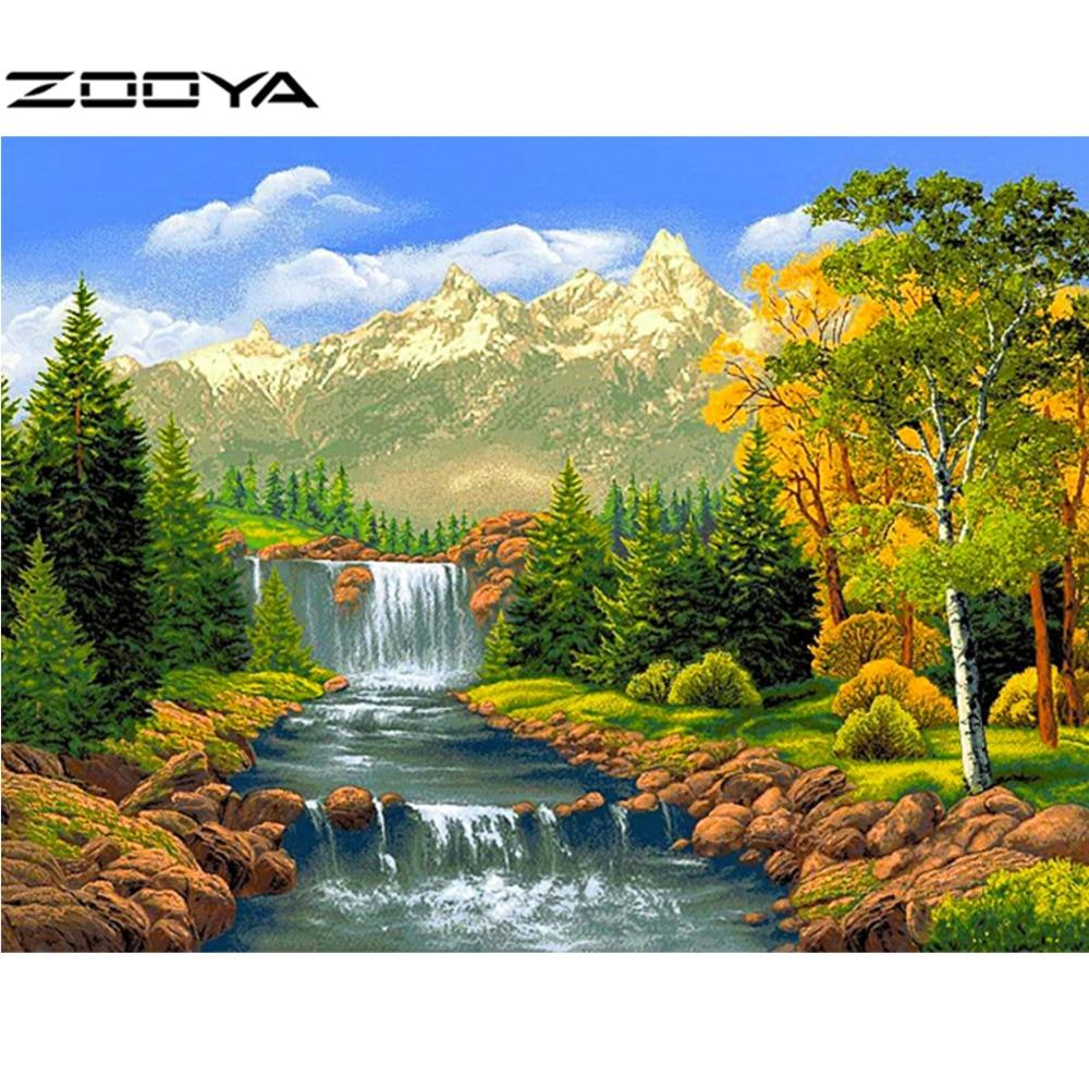 ZOOYA Diamond Embroidery Landscape 5D DIY Diamond Painting Full Dill Round Diamond Mosaic Waterfall Wall Sticker Gifes RF909