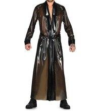 Latex long dress, transparent brown latex suits with long coat costume latex long dress suits for men