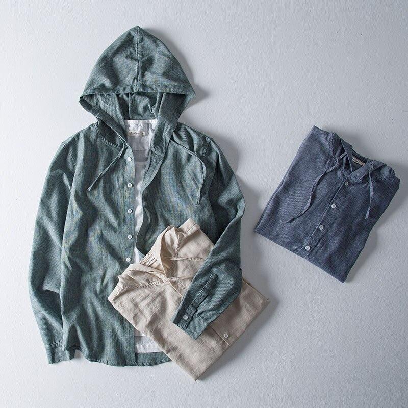 Été mode kaki hommes chemises à capuche à manches longues chemises hommes coton japonais Harajuku bouton décontracté hauts chemise Camisa