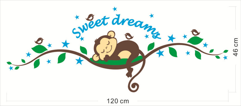 monkey cartoon sleepy stickers decors removable christmas