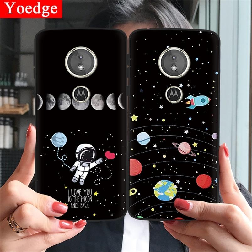 Soft TPU Black Matte Case For Motorola Moto G6 Play E4 E5 EU G5 G5S Plus Lovely Astronaut Back Cover For Moto G5S Star Moon Case