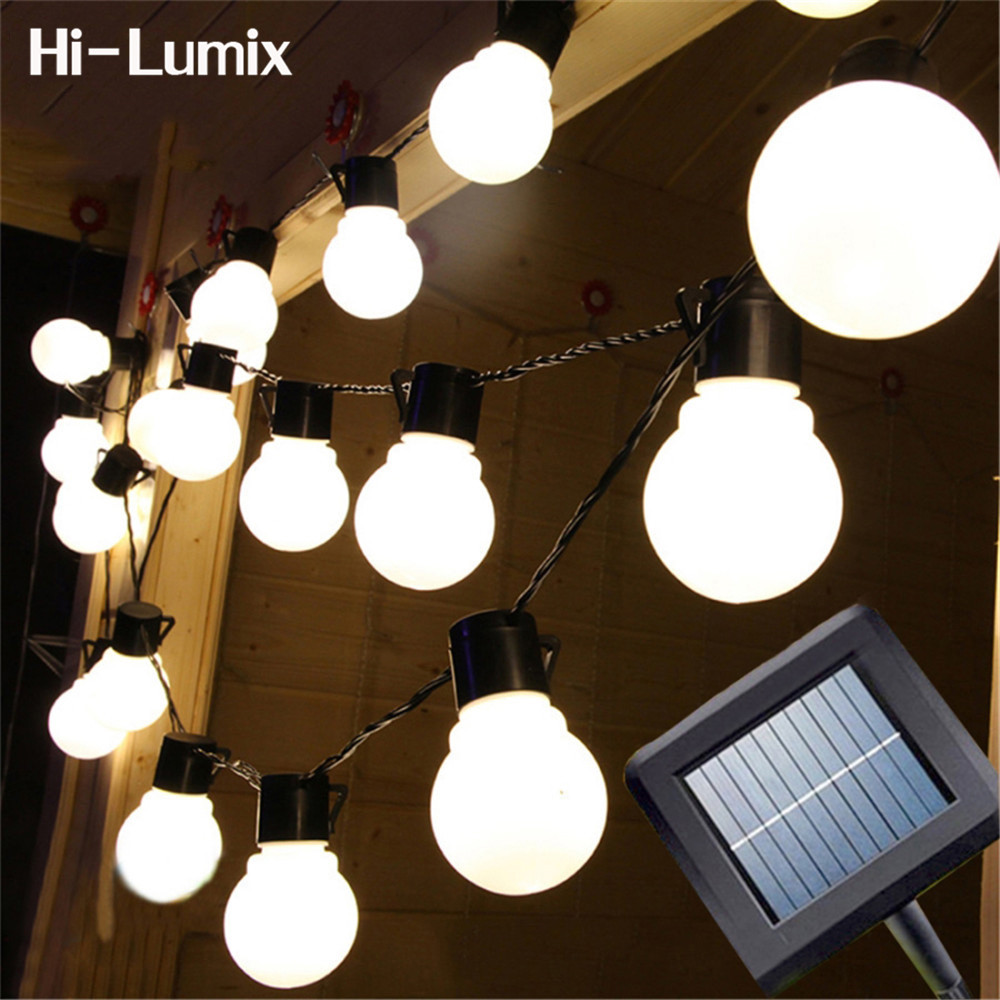 Hi-Lumix 5 cm Grote bal 2.5 M of 5 M Solar led String licht outdoor Decoratieve Fairy verlichting voor kerstbomen, Patio. Party
