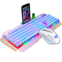 New Wired Gaming Keyboard 104 Keys Backlit Keyboards Mouse Combo Metal Gamer Keyboard Russian Stickers For Tablet Desktop