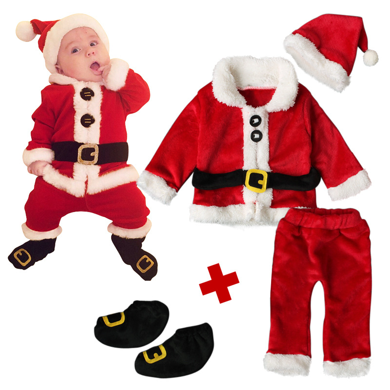 Christmas Children Clothing Set 2017 New Toddlers Baby Santa Claus Suit Red Warm New Years Costumes for Boys Girls