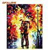 QFALOVE Abstract Romantic Kiss Lover DIY Painting By Numbers Landscanpe Oil Painting On Canvas Home Decoration