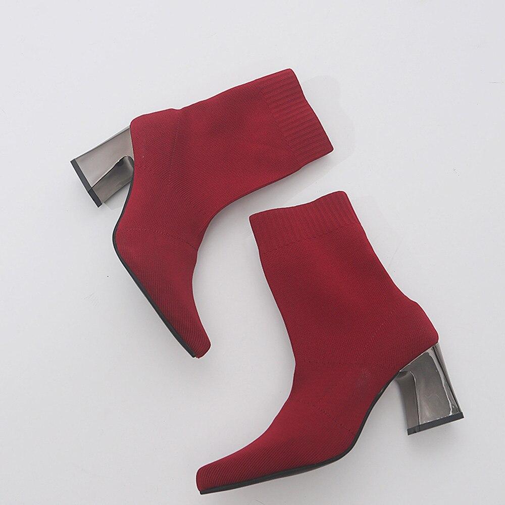 Elástica Mujer De Moda Tubo Con Medio Zapatos Puntiaguda Punta Tacón Negro Para rojo Alto Botas Tela nqwYdgRtd