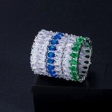 цена Zircon Stone Rings For Women Engagement Wedding Band Promise CZ Stone Fashion Female Jewelry Silver Green Blue онлайн в 2017 году