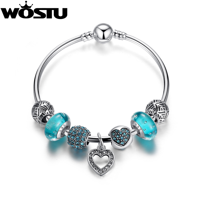 Hot Sale Silver Blue Heart Charm Bangle For Women Fashion DIY Beads Original Bracelet Jewelry Lover's Gift XCH3801 blue original letter wide bangle