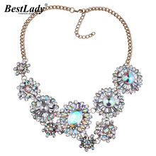 Best lady Big Brand Bohemian AB Color Flowers Pendant Maxi Necklace Women Hot Fashion Statement Jewelry Wholesale Collier 4244(China)