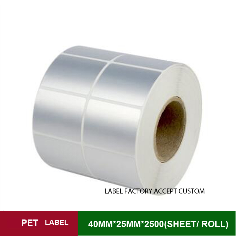 40*25mm*2500 sheets per roll heat resisting PET label paper double row thermal transfer adhesive stickers for waterproof marks address adhesive stickers labels 100 100mm 500 sheets thermal papers for labeling and sealing marks wholesale with a good price