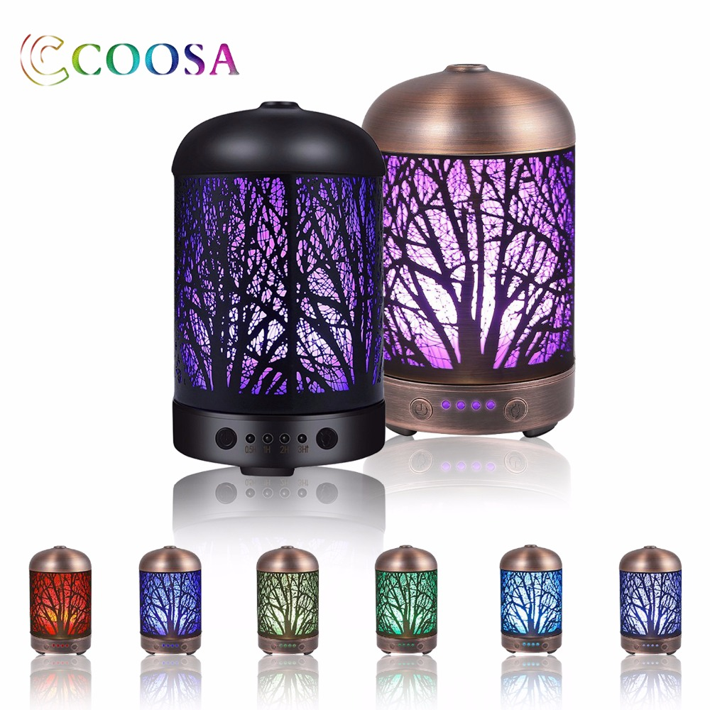 COOSA 100ml Aroma Essential Oil Diffuser 100ml Ultrasonic Aroma Diffuser 7 Kleur Veranderende Led-verlichting voor Office Home other 100ml