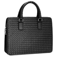 TIDING Top Grade Mens Briefcase Handmade Weave Pattern Leather Business 14 Laptop Bag 1056