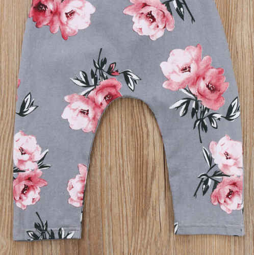 a6fbac2542e ... Cotton Baby Kids Girls Rompers Summer Gray Sleeveless Flower Halter  Romper Jumpsuit Cute Flower Playsuit Clothes