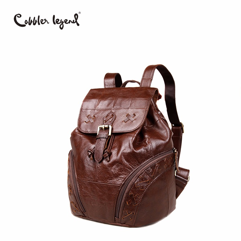 Cobbler Legend Simple Genuine Leather Backpack Small Women Fashion Drawstring Travel Backpack Bucket Bag Mini X Knitting