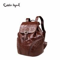 Cobbler Legend 2018 Simple Genuine Leather Backpack Small Women Fashion Drawstring Travel Backpack Bucket Bag Mini X Knitting