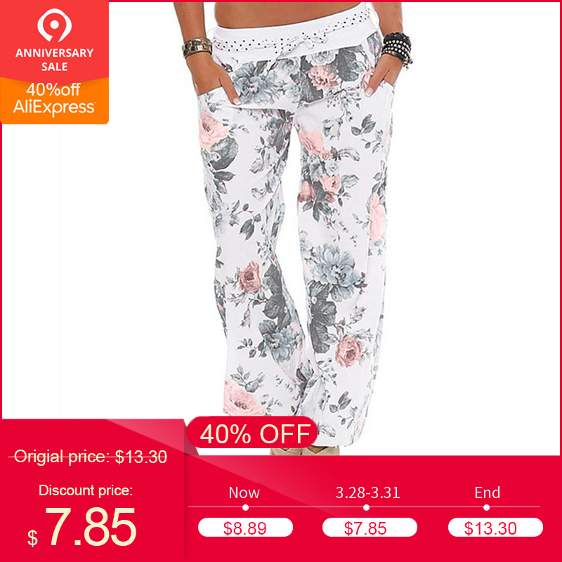 Womens Ladies Floral Trousers Long   Pants   Baggy Leggings Plus Size 2018 New Arrival Fasion Summer   wide     leg     pants   female plus size
