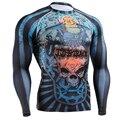 Compression Shirts Ultra thin Men's Long Sleeves Full Prints Tight Skin Rash Guard Fitness MMA Body T-Shirts