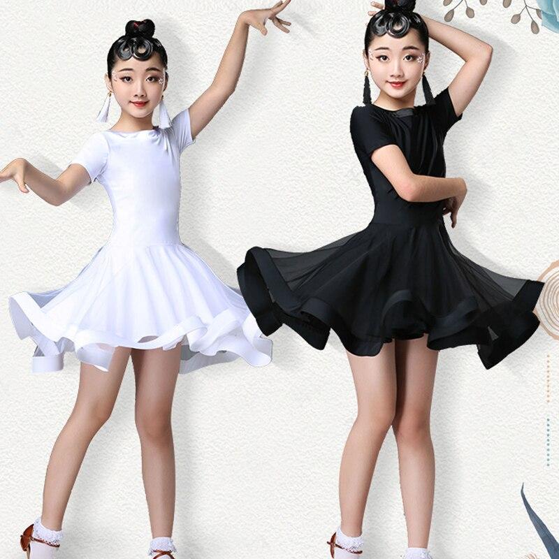 New White Girls Latin Dance Dress Black Lace Dress Practice Tango Ballroom Children Dance Wear Latin Dress For Girls BL1625