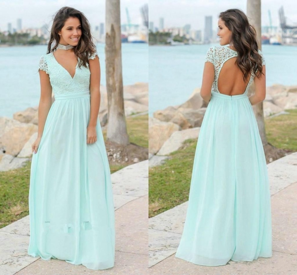 Babyonline V Neck Lace Chiffon Long   Bridesmaid     Dresses   2019 Sexy Backless Wedding Party   Dresses   robe demoiselle d'honneur