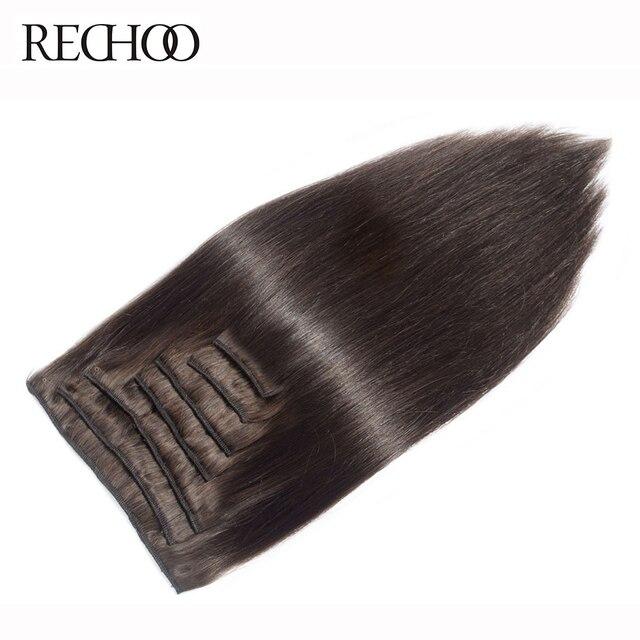 Rechoo Machine Fait Remy Agrafe Droite Dans les Extensions de Cheveux 100G 120G 100% Clips de Cheveux Humains Dans #2 Brun Foncé Couleur 18 2