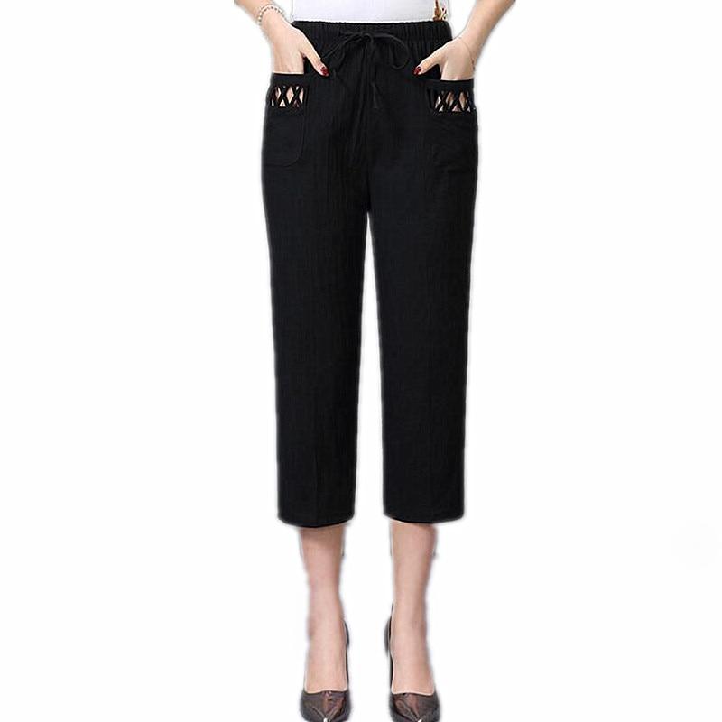 2019 Summer Women Pants Capris Female High Waist Casual Pants Plus Size Straight Pants Women 353