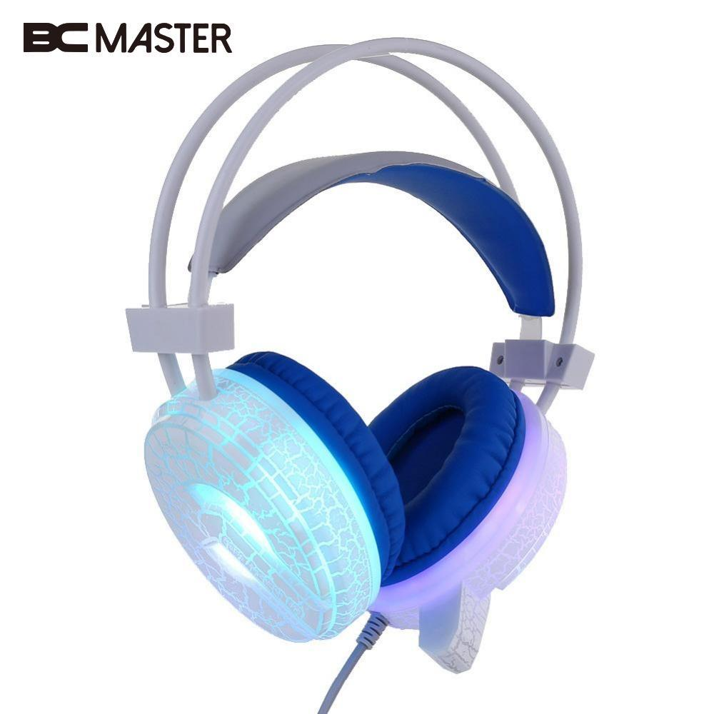 BCMaster LED Light Headphone Gaming Stereo Bass Big Earphone with Microphone Gamer headset For PC Computer Game Player ttlife led bass gaming headset stereo sound wired headphone voice control with microphone for computer game of 2 colors