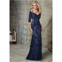 2016 elegante Navy Blaue Hälfte Ärmel Mutter der Braut Spitze Abendkleider Meerjungfrau Formales Kleid Schulterfrei Kleid A41