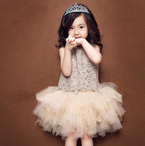 2016 Summer Girls Princess Dresses for Wedding Party kids Baby Girl tulle dress cute Flower Lace Tutu Dress Vintage girl Frock