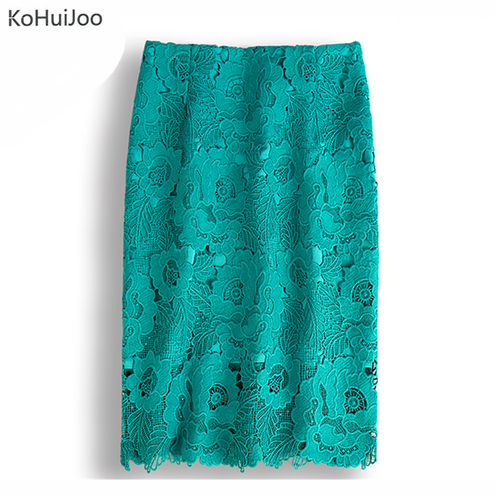 KoHuiJoo S-4XL Green White Black Summer Sexy Lace Skirts Women Cut Out Runway Embroidery Pencil Skirt Plus Size Work Wear Skirt