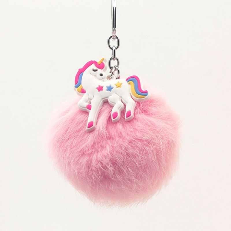 Ban đầu Mới Fluffy Lông Bóng Súng Đại Bác Tự Unicorn Keychain Phụ Nữ Pom Pom Lông Bóng Keyring Quyến Rũ Ngựa Túi Đính món quà Cưới