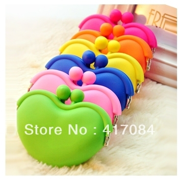10*8cm free shipping Mini Heart shaped Lovely Silicone Coin Purses/Wallet/Rubber Wallets/ women Bag wholesale 500pcs/lot