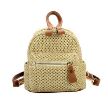 Backpacks Women 2018 National Straw Weave Beach Mini Bags Female Travel Backpack Teenage Girls Summer School Bags Rucksack #40B(China)