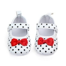 Baby Girl Shoes Toddler Infant Anti-slip Polka Dot PU First Walkers Sh