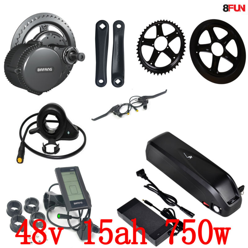 EU no tax 48V 750W BBS02 Bafang mid drive electric motor kit + 48V 14.5Ah Li-ion down tube ebike battery
