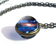 Galaxy Nebula Glass Ball Necklace Stars Outer Space Double Side Pendant Universe Glass Cabochon Art Jewelry Women Men Gift full moon planet glass ball cabochon necklace outer space galaxy jewelry stars nebula double side glass pendant women gifts