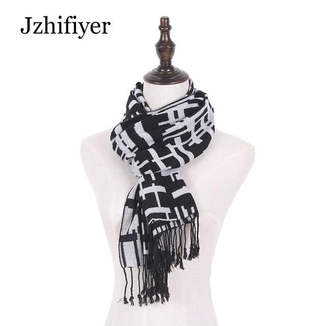 0271b4c1d0a6 Jzhifiyer laine rayonne écharpe hommes de luxe marque réversible foulards  gland mâle pashmina écharpes volé châles