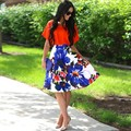 Fashion Women Skirt Ladies High Waist Floral Print Party Casual Pleated Skirt