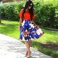 Mulheres moda Senhoras Saia Cintura Alta Floral Imprimir Partido Ocasional Saia Plissada