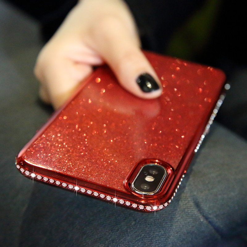 Luxury Rhinestone Glitter Case for iphone 6 6s XS MAX XR 10 X 7 8 Plus Soft Silicone Plating TPU Diamond Sexy Girl Protect Cover in Rhinestone Cases from Cellphones Telecommunications