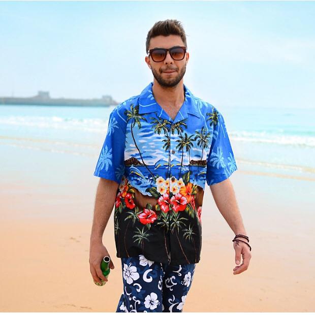 2014 summer brand new men's hawaiian beach shirt men short