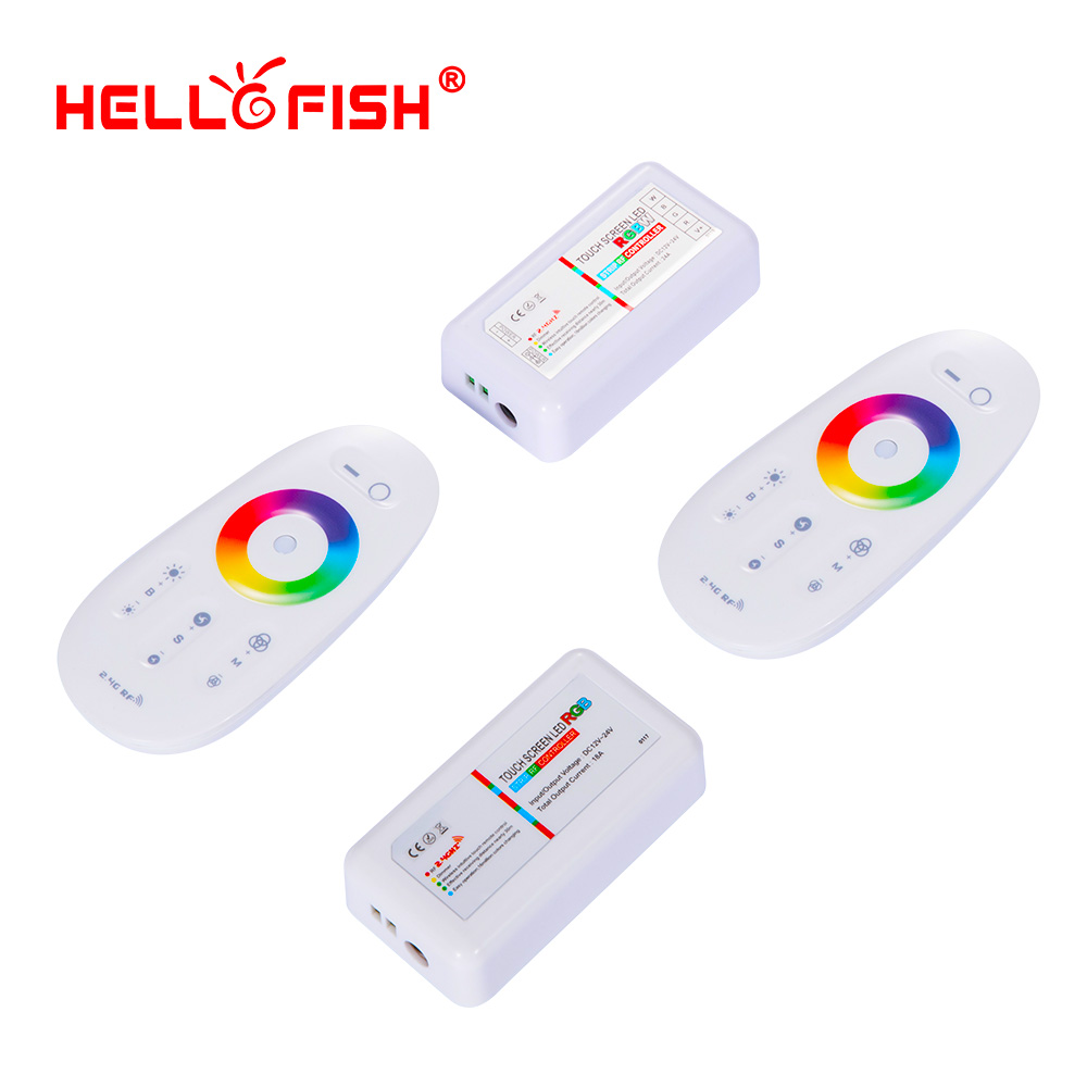 2.4G RGB RGBW LED Strip Controller Touch Remote Control RF Wireless 12V 24V LED Driver Hello Fish