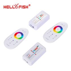 2.4G RGB RGBW kontroler taśmy ledowej dotykowy pilot zdalnego sterowania RF bezprzewodowy 12V 24V LED sterownik witaj ryby w Kontrolery RGB od Lampy i oświetlenie na