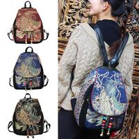 Retro Women's Backpacks Ethnic Style Embroidery Feminine Peacock School Bag Characteristics Beaded Canvas Backpack Bags 2018 New