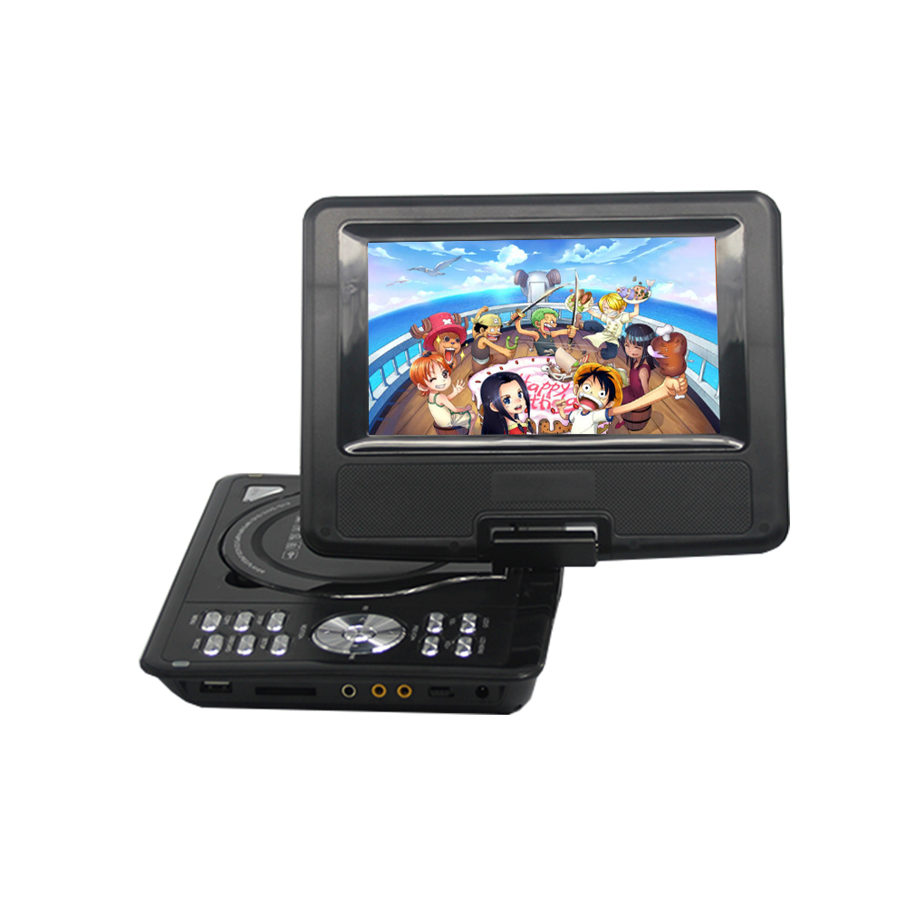 LONPOO portable 7 Inch DVD VCD player with rotatable screen game /TV function support CD player MP3/MP4 for outdoor/car home
