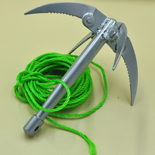 Anchor +Rope Fishing Tool Fishing rope foldable four hook anchor knife Fish Prevent Slip Safety Rope