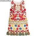 Vestido de princesa Meninas Roupas 2017 Criança Meninas Vestidos De Marca Crianças Roupas com Borla Floral Impresso Meninas Vestir